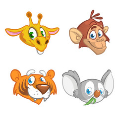 cartoon african animal head icons collection vector image