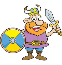 Cartoon viking holding a sword and a shield vector image vector image