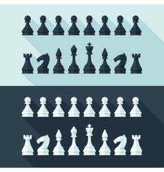 Chess figures set in flat modern style for design vector image vector image