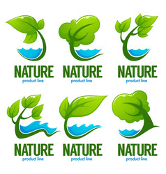 Collection of decorative green leaves trees and vector