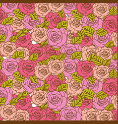 colorful realistic pattern with roses and leaves vector image