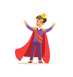 cute boy prince in a golden crown purple costume vector image vector image