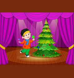 Cute girl in winter clothes performing on stage vector