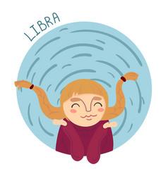 cute zodiac sign - libra vector image vector image