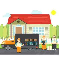 delivery service icons in cartoon style vector image
