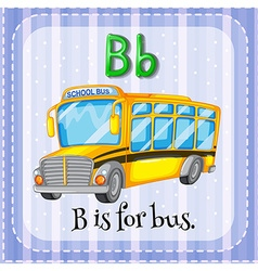 Flashcard letter b is for bus vector