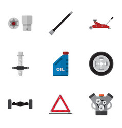 Flat icon workshop set of lifting motor vector