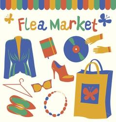 Flea market set vector
