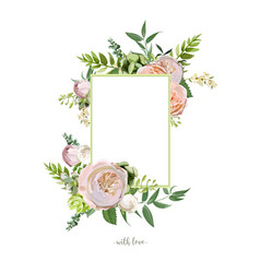 floral design vertical card soft pink peach vector image