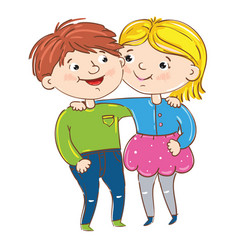 Happy young girl and boy cartoon characters vector