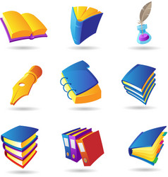 Icons for books vector image vector image