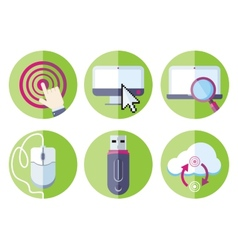 Information resource devices icon set vector image