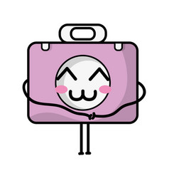 Kawaii cute happy briefcase and medical kit vector