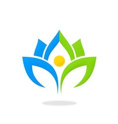lotus flower nature ecology logo vector image