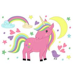 magic unicorn and bird vector image vector image