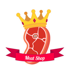 Meat logo label for menu shops flat style vector