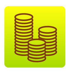 Money sign brown icon at vector