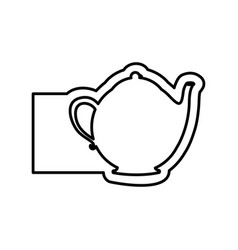 monochrome contour with teapot of tea and banner vector image