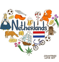 Netherlands symbols in heart shape concept vector