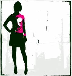 punk rock girl vector image