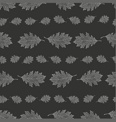 Seamless pattern from the snowy leaves of red oak vector
