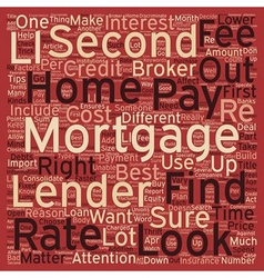 Second mortgage tips text background wordcloud vector