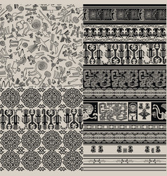 Set of backgrounds with peruvian patterns vector