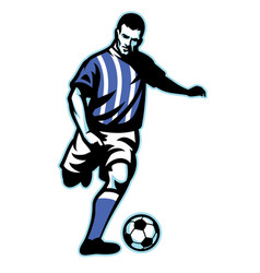 Soccer player kick the ball vector