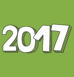 New year 2017 hand drawn white and green sign vector