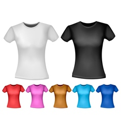 Black and white and color woman polo t-shirts vector