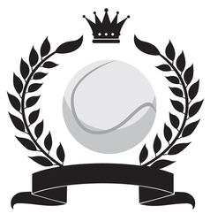 logo with a wreath and a tennis ball vector image