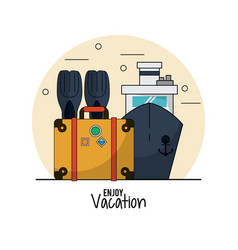 White background of enjoy vacation with fins and vector