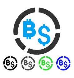 Bitcoin financial diagram flat icon vector