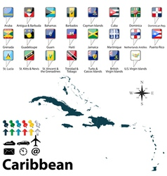 Political map of caribbean vector