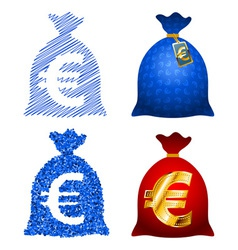Variations currency sack euro eur vector