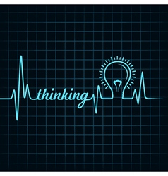 Heartbeat make thinking word and light-bulb vector