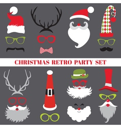 Christmas Retro Party set - Glasses hats lips vector image