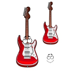 Cartoon smiling red electric guitar character vector