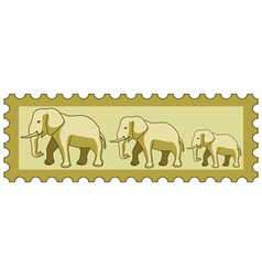 Elephants on stamp vector