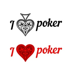 I love poker badges vector