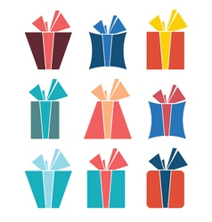 Set of nine colorful icons of gift boxes vector image