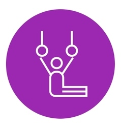 Gymnast performing on stationary rings line icon vector