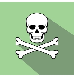 Skull with flat style and long shadow vector