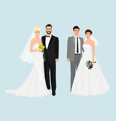 Beautiful elegant wedding couples collection set vector