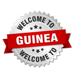 Guinea 3d silver badge with red ribbon vector