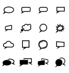 Black speach bubbles icon set vector