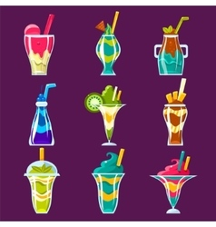 Smoothies and sweet multilayered cocktails vector