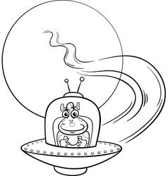 alien in ufo cartoon coloring page vector image