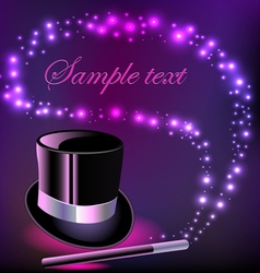 background with a hat and a magic wand vector image