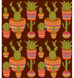 cactus pattern vector image vector image
